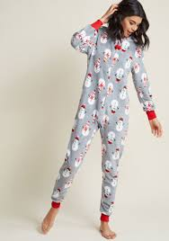 cozy chill out one pajamas in snowman soiree modcloth