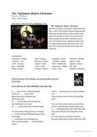 7 free esl nightmare before christmas worksheets