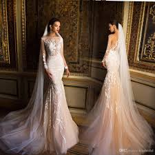 Sale Wedding Dress Sheer Bodic Mermaid Lace Wedding Dresses 2016 Champagne Long