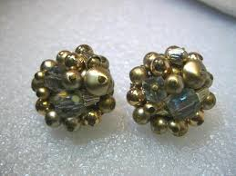 japan earrings vintage gold tone clear beaded clip earrings signed japan 1