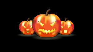 three funny pumpkins lanterns hd halloween wallpaper