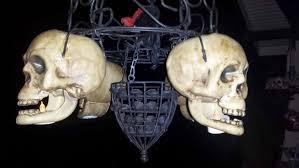 Halloween Chandeliers Diy Candlelit Skull Hanging Chandelier Halloween Prop 8 Steps