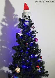 creepy skull christmas tree topper w dirty handmade santa