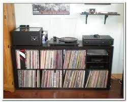 minimalist family room with ikea record storage retrieve wooden
