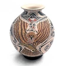 Handmade Mexican Pottery - manuel rodriguez medium paquime roadrunner and hawk design