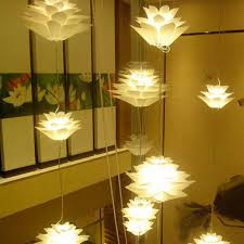 diy puzzle lotus flower chandelier pendant light hanging lamp