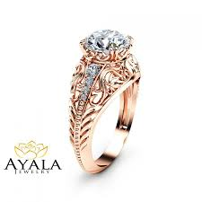 2 carat diamond engagement ring in 14k rose gold art deco design