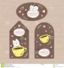 vector hand drawn set of tags with cute cat and cup of coffee can