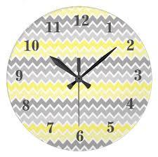 yellow grey gray ombre chevron baby nursery wall clock 872