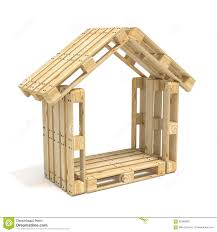 Euro House House Made Of Euro Pallets Side View 3d Render Stock