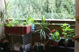 chic green nuance of small balcony garden which is completed with
