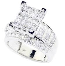 10k white gold wedding band princess cut diamond wedding ring 3 in 1 engagement bands 10k
