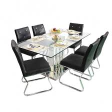 Dining Table And Six Chairs 6 Seater Glass Top Dining Table Set Woodys Furniture