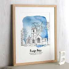 watercolour house line drawing by letterfest notonthehighstreet com