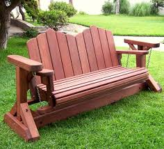 Diy Wooden Outdoor Chairs by Adirondack Chain Gliders Options 3 Person Old Growth Redwood