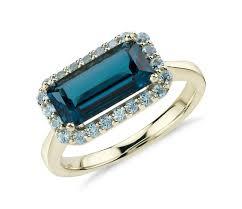 london blue topaz engagement ring robert leser east west london blue topaz halo ring in 14k yellow