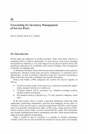 forecasting for inventory management of service parts springer