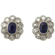 18k gold earrings antique 1920s 0 84ct sapphire diamond 18k gold stud earrings at