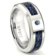 mens blue wedding bands cobalt chrome 8mm blue sapphire blue carbon fiber inlay wedding