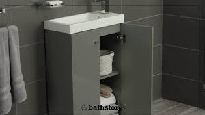 Grey Vanity Unit Alpine Duo 495 Basin And Floorstanding Vanity Unit Gloss Grey