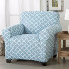 turquoise chair slipcover brenna collection trellis print stretch form fitted chair slipcover