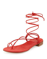 stuart weitzman nieta suede lace up flat sandal in red lyst
