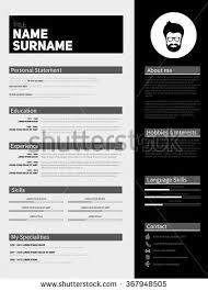 minimalist cv resume template simple design stock vector 483188944