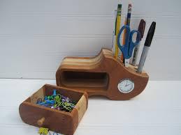 very impressive portraiture of wooden shoe pencil holder desk organizer desk clock by tanteandoom with