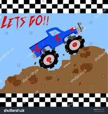 monster trucks races cartoon cars race monster truck vector cartoon illustration stock vector