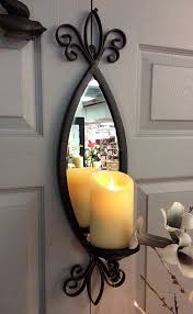 Flameless Candle Wall Sconce Antique Bronze Metal Mirror Candle Sconce 25 Inch Buy Now