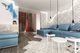 blue brown white modern living room interior design ideas