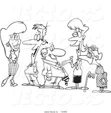vector of a cartoon group of people socializing outlined