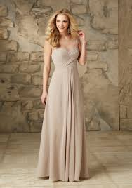 chiffon with embroidery illusion neckline bridesmaid dress