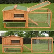 Large Rabbit Hutch With Run Pawhut Wooden Rabbit Hutch Bunny House Small Animal Habitat W
