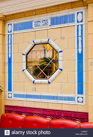 octagonal mirror in art deco arcade at entrance to blackpool
