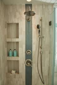 best ideas about vertical shower tile pinterest large accent stripe glass tiles adds interest this neutral shower sleek niches provide