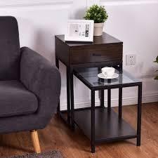 glass top end tables metal goplus 2pcs set nesting modern coffee side table wood portable end