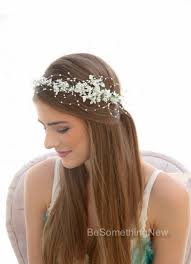 white flower headband wedding white flower crown with pearls beaded flower halo