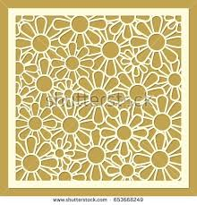 laser cut square panel rose pattern stock vector 726110272