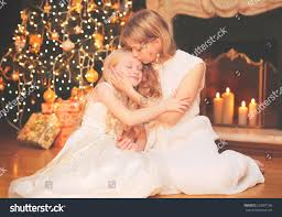 At Home Christmas Trees by Happy Mother Child Near Christmas Tree Stock Photo 525807196