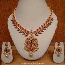 double necklace set images Traditional gold double layer necklace set south india jewels jpg