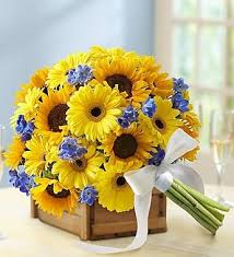 go flowers flowers to go with daisies in a navy light blue yellow rustic wedding