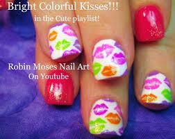 rainbow kiss nails diy spring lip print nail art design tutorial