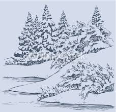 vector sketch winter forest landscape with frozen river vector art