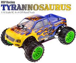 hsp tyrannosaurus road truck 1 10 blue u0026 yellow flame nitro