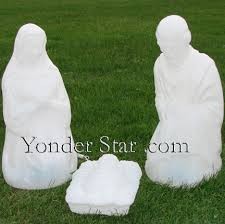 Outdoor Nativity Lighted - lighted white outdoor nativity holy family yonder star christmas
