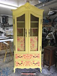 Painted Armoire Furniture Furniture Stamps On A Yellow Painted Armoire Tracey U0027s Fancy