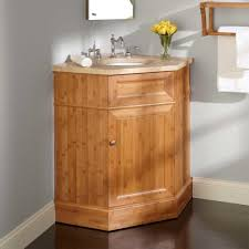 Bamboo Bathroom Cabinet Bathroom Adorable Brown Corner Bathroom Vanity Using Bamboo