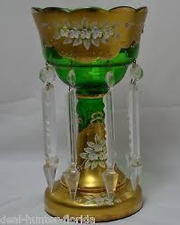Antiques Decorative 1 Mantle Luster Candle Holder Floral Nouveau Czech Bohemian Prisms