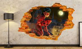 miraculous ladybug hole in the wall 3d effect wall sticker art details description miraculous ladybug hole in the wall 3d effect wall sticker